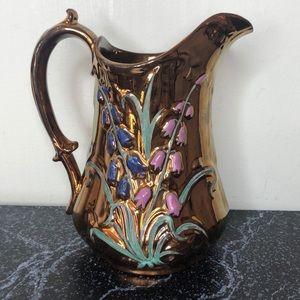 Vintage rose gold blue bells pitcher